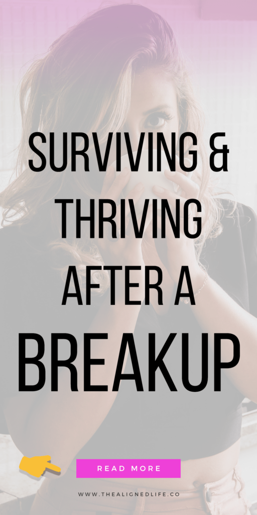 girl sipping coffee with text that readsSurviving & Thriving After A Breakup: 6 Essential Tips Guide