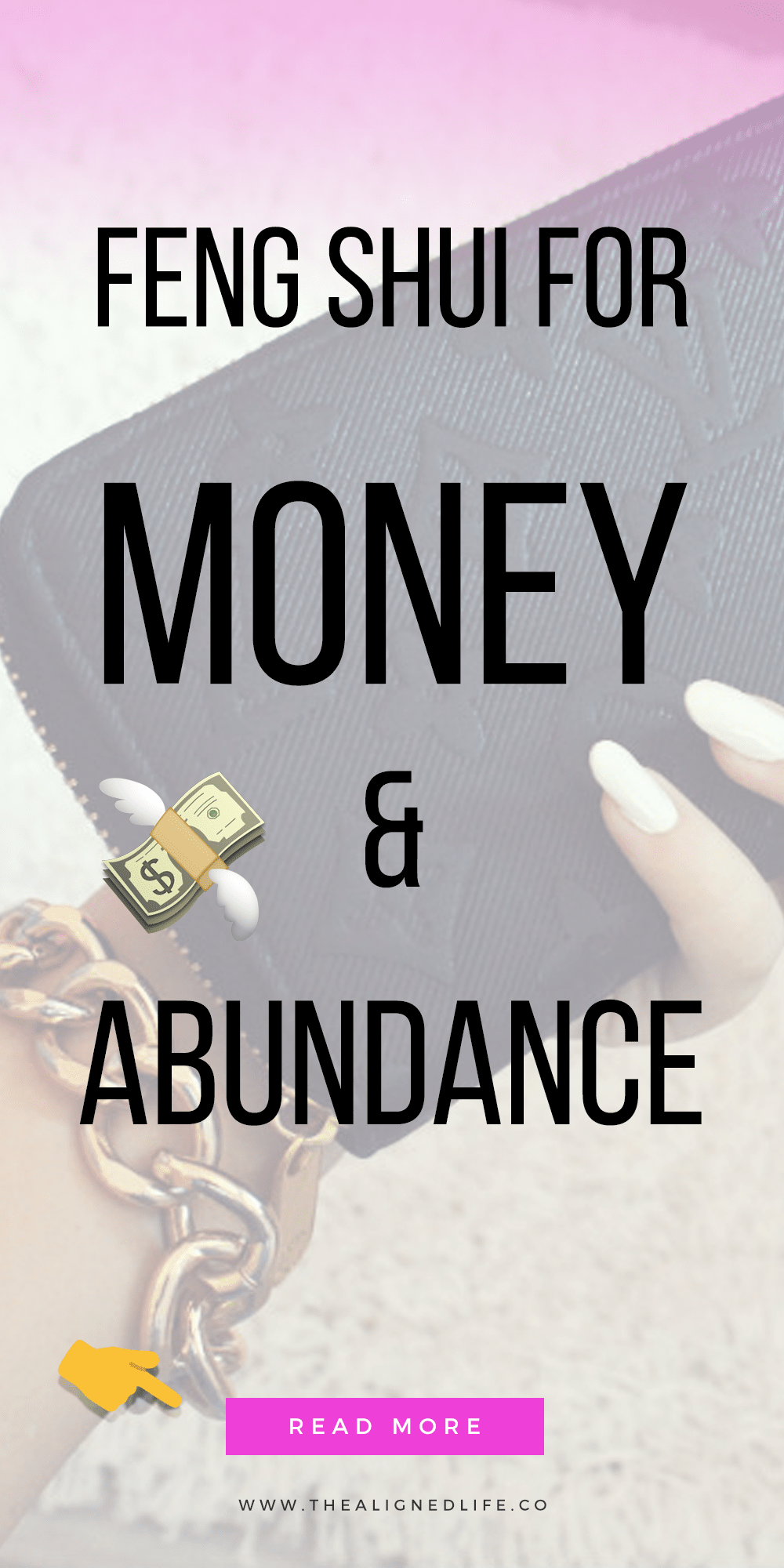 hand with wallet and text 10 Feng Shui Tricks for Money & Abundance