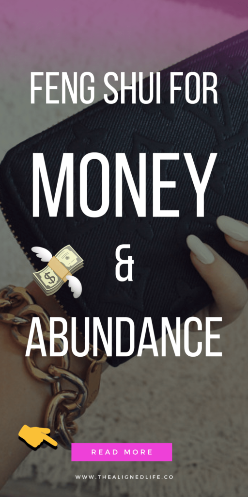 manicured hand with wallet and text 10 Feng Shui Tricks for Money & Abundance | The Aligned Life