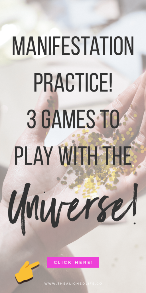 hand with confetti & text that reads Manifestation Practice: 3 Games You Can Play With The Universe