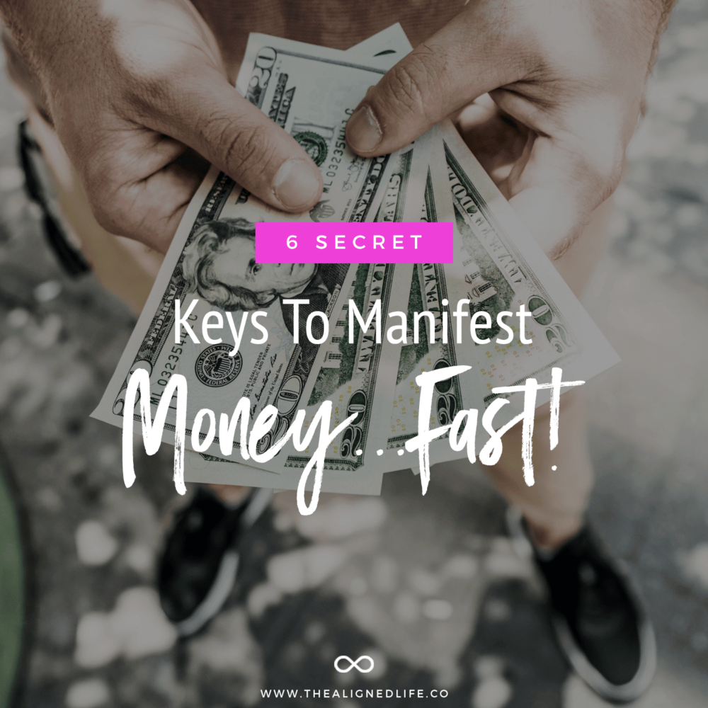 hand holding money with text 6 Secret Keys To Manifest Money Fast