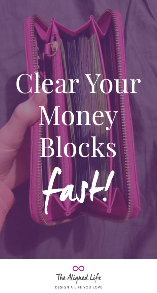purple wallet with text Clear Your Money Blocks Fast - The Aligned Life