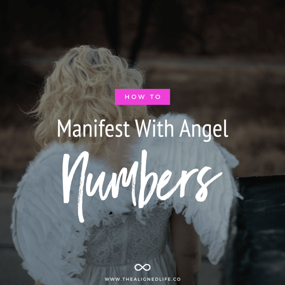 blonde with angel wings with text that reads How To Manifest With Angel Numbers