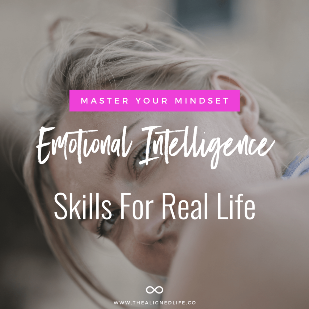 woman looking over shoulder with text overlay that reads: Emotional Intelligence Skills For Real Life