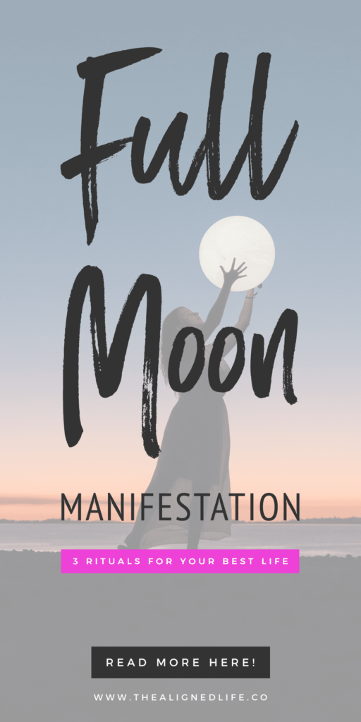 woman holding a moon globe with text Full Moon Manifestation: 3 Rituals For Your Best Life