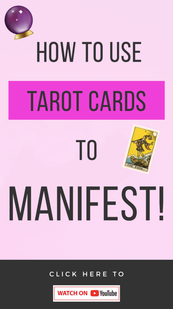 pink background with text that reads How To Use Tarot Cards For Manifestation