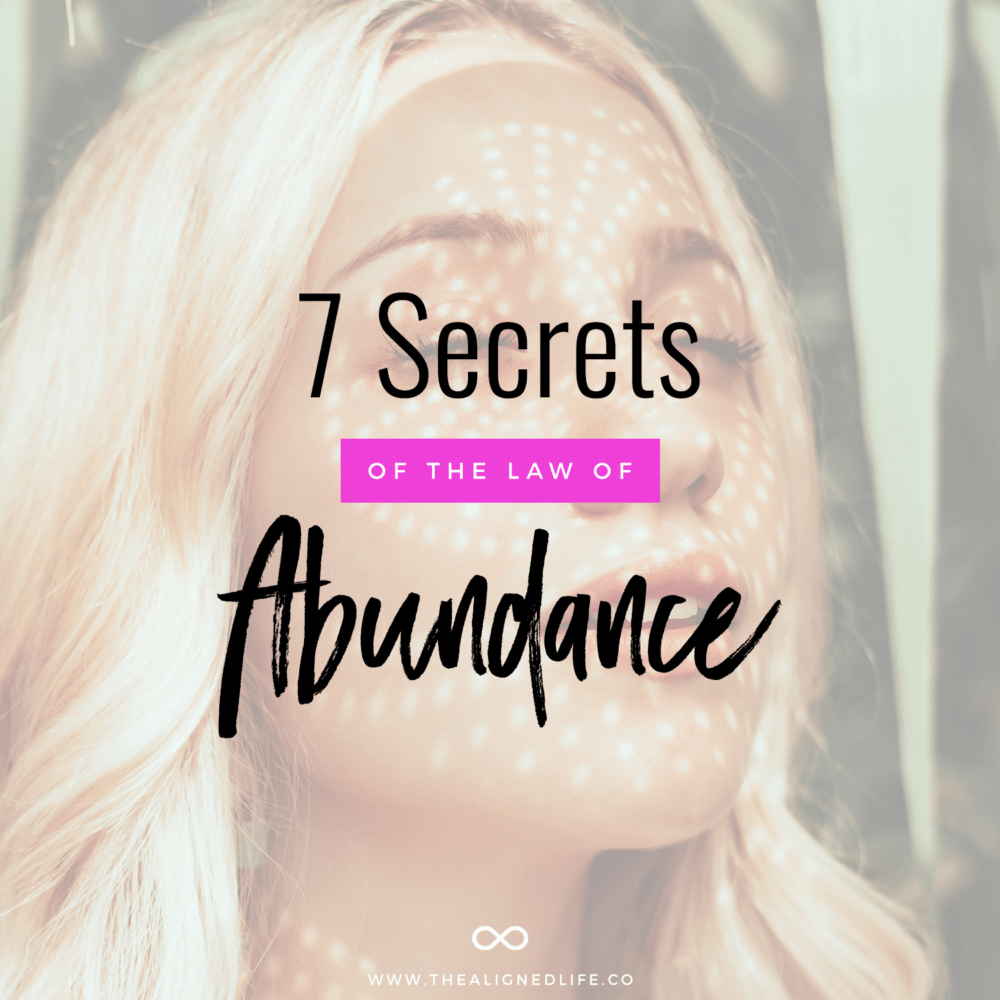 woman with eyes closed and text 7 Secrets Of The Law of Abundance