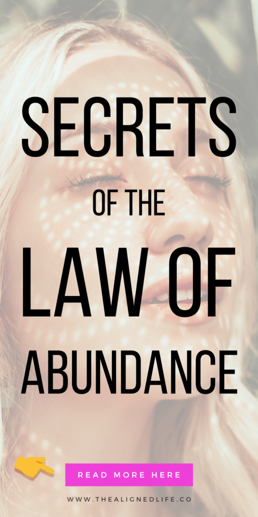 woman with eyes closed & text 7 Secrets Of The Law of Abundance