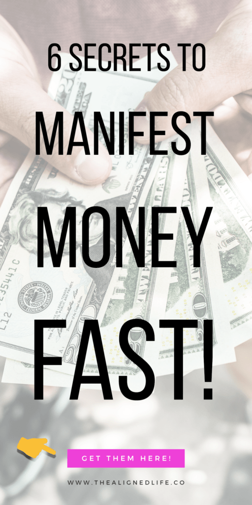 hand with money and text 6 Secret Keys To Manifest Money Fast
