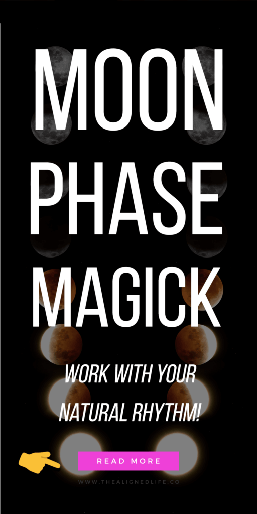 photo of moon phases with text Moon Phase Magick: How To Work With Your Natural Rhythm