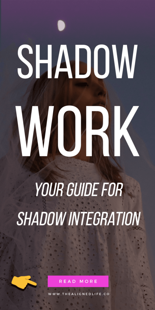 woman with eyes closed and text Shadow Work: How To Integrate Your Shadow Self