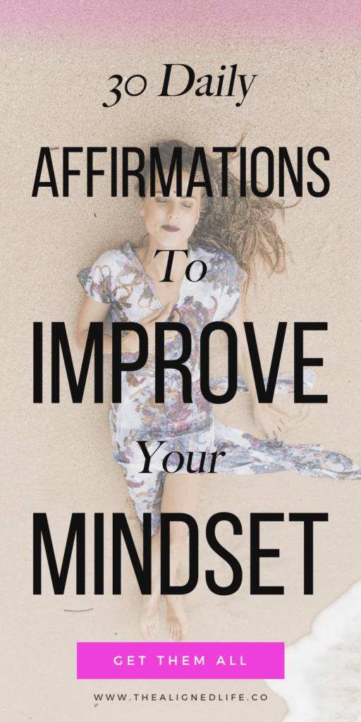 girl lying on the sand with text 30 Daily Affirmations To Improve Your Mindset